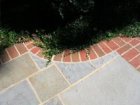pattern bluestone with brick border