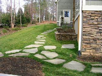 stepping stones and planters