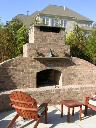 built-in bluestone mantle and chimney cap