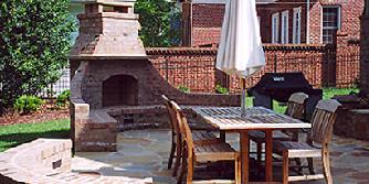 brick fireplace with curved benches