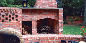 brick fireplace with privacy wall