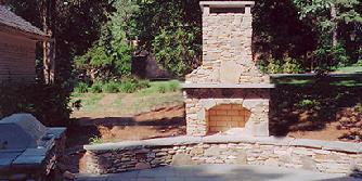 natural stone fireplace and patio