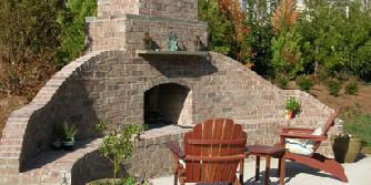 brick fireplace with bluestone mantle