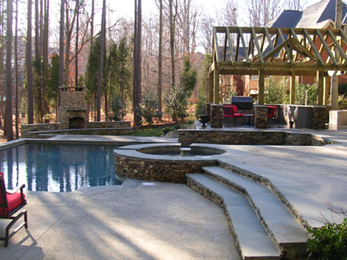 outdoor living area with pool on Lake Norman