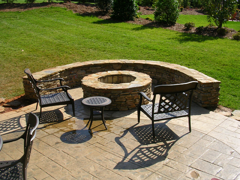 fire pit with gas starter and built-in sitting bench