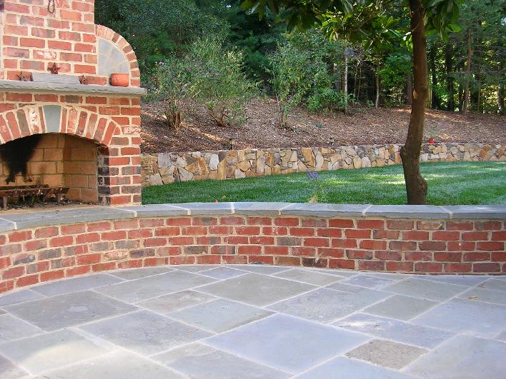 pattern bluestone patio and sitting bench cap
